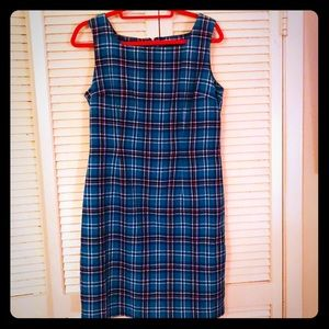 {Vintage} Clueless 90s blue plaid sleeveless dress